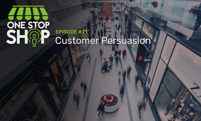 Episode #21 on Customer Persuasion. Busy mall with people shopping. They are blurred and in motion